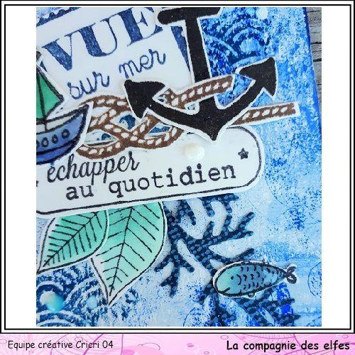 Du bleu: carte et ATC * DT Cie des Elfes *