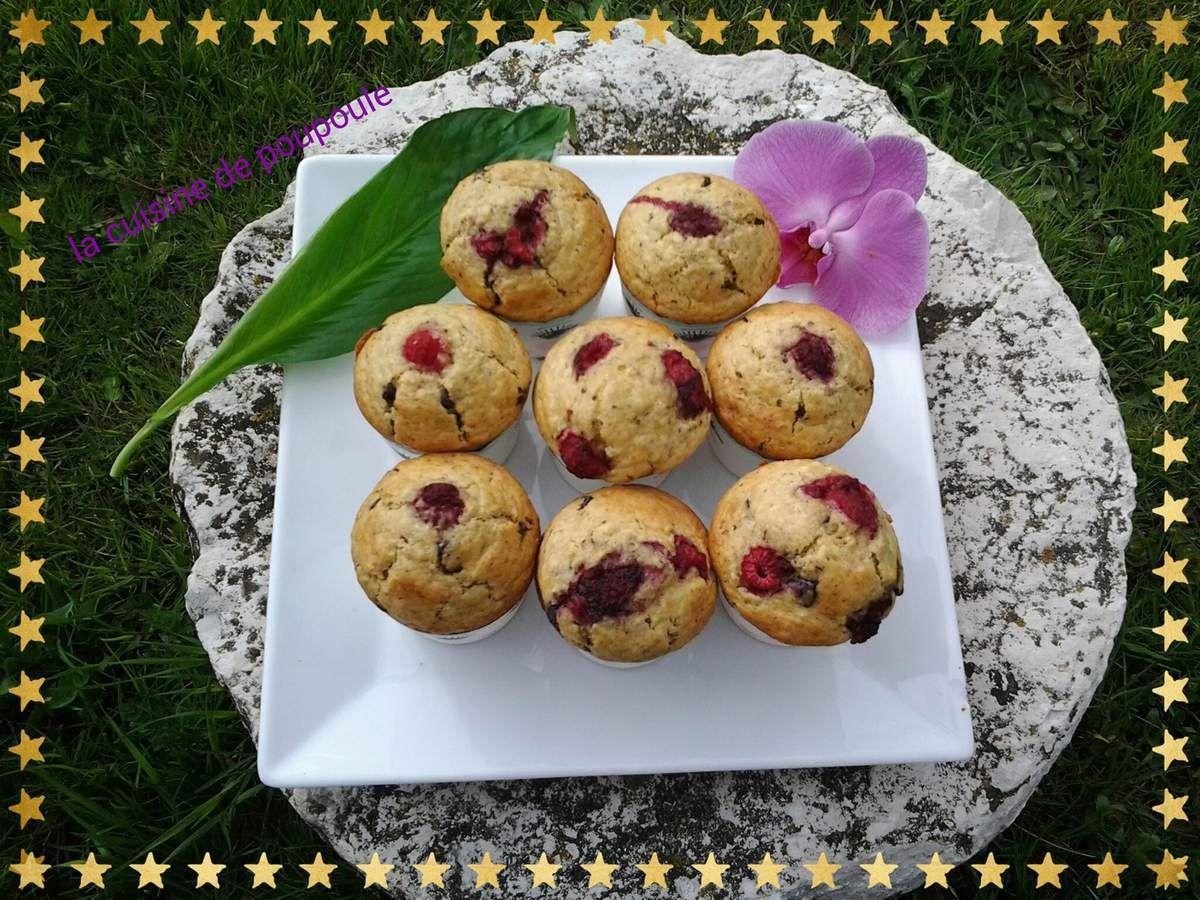 Muffins aux flocons d'avoine chocolat et framboise au thermomix et kitchenaid