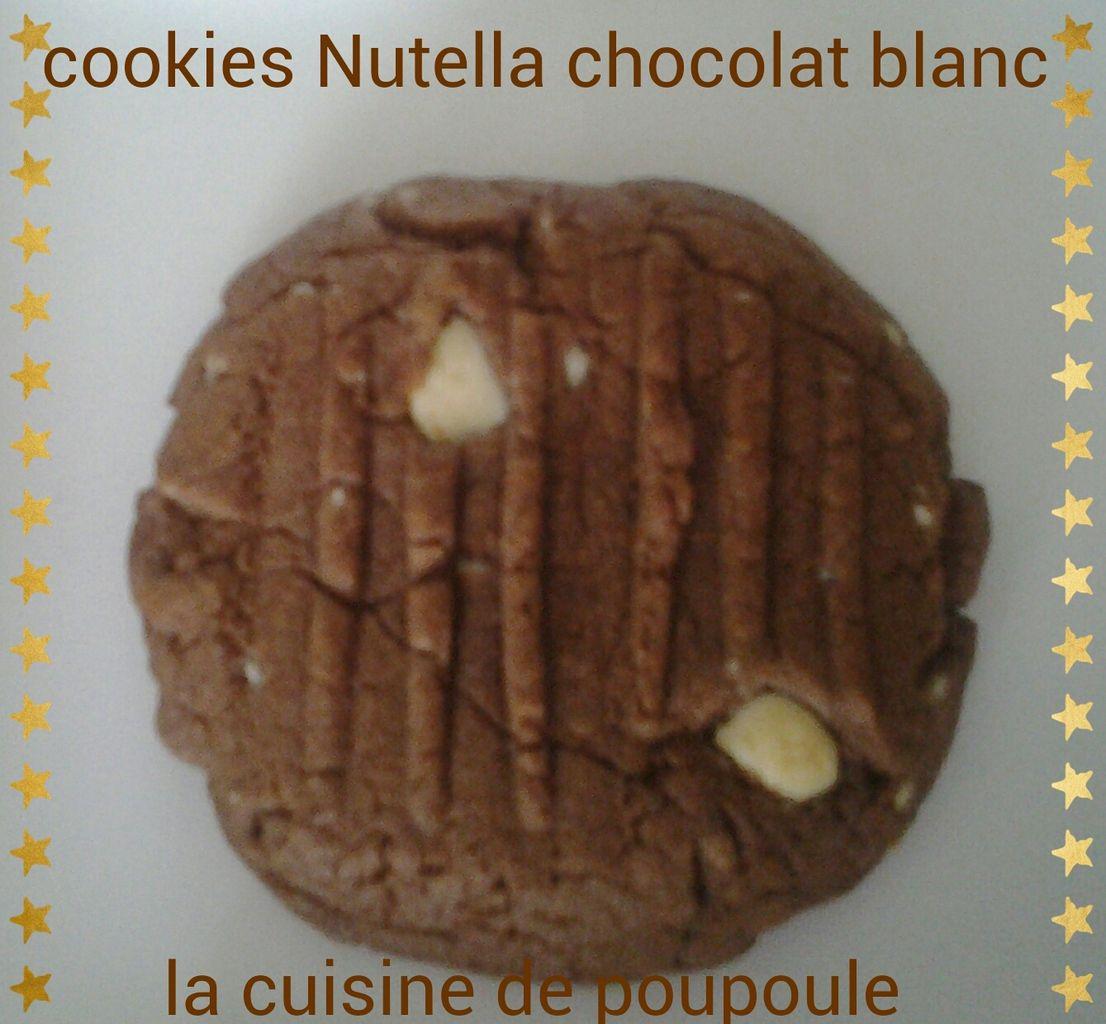 Cookies au Nutella et chocolat blanc (4 ingrédients) au thermomix ou kitchenaid