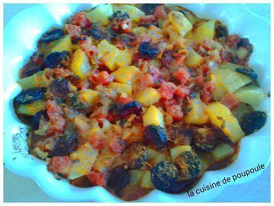 Gratin de pommes de terre, jambon, tomate et chorizo