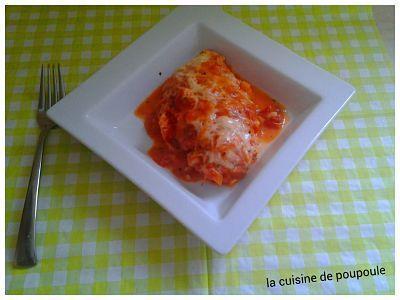 Esaclope de poulet gratiné à la tomate