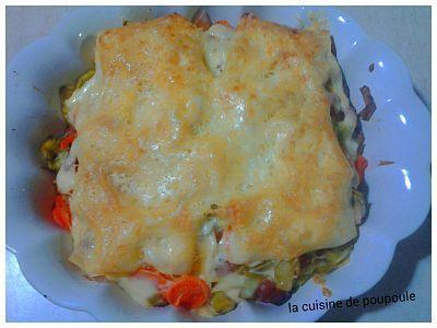 Lasagne aux poireaux, carottes et saucisses fumées