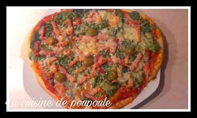 Pizza épinards lardon au thermomix ou sans