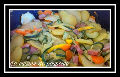 Poêlée de courgettes, poivron jaune, pomme de terre, carottes au thermomix ou sans