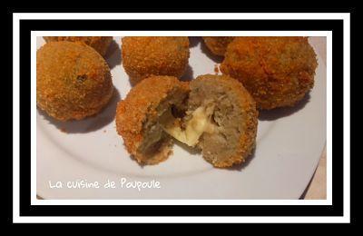 Boulettes d'aubergines au couer de mozzarella au thermomix ou sans