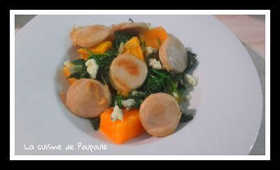 Boudin blanc potimarron rôti, épinards et gorgonzola