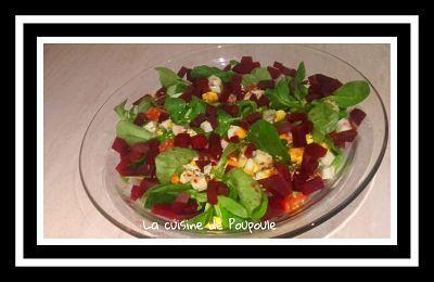 Salade de mâche, bettrave, dés de poulet et vinaigre de cidre