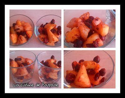 Pommes et poires aux noisettes et raisins sec à l'Actifry