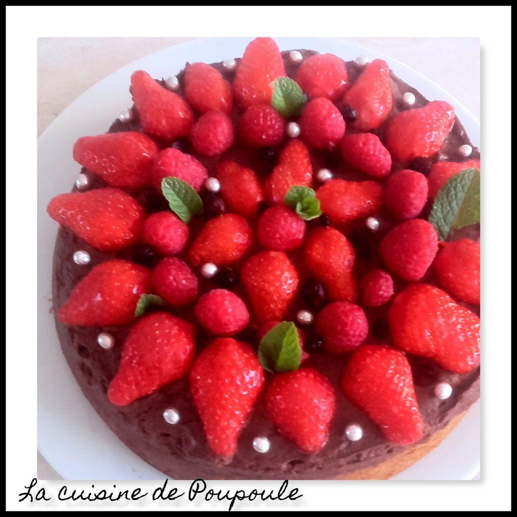 Gâteau aux fraises et framboise sur lit de mousse au chocolat thermomix ou sans