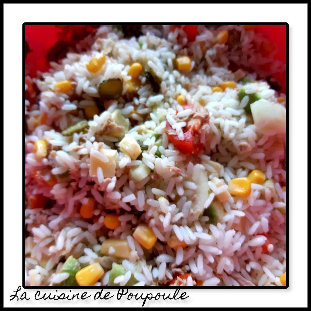Salade de Riz avocat, concombre maïs,thon