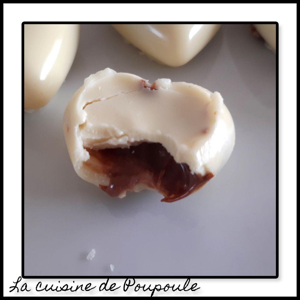 Chocolat blanc cœur praliné aux noisettes