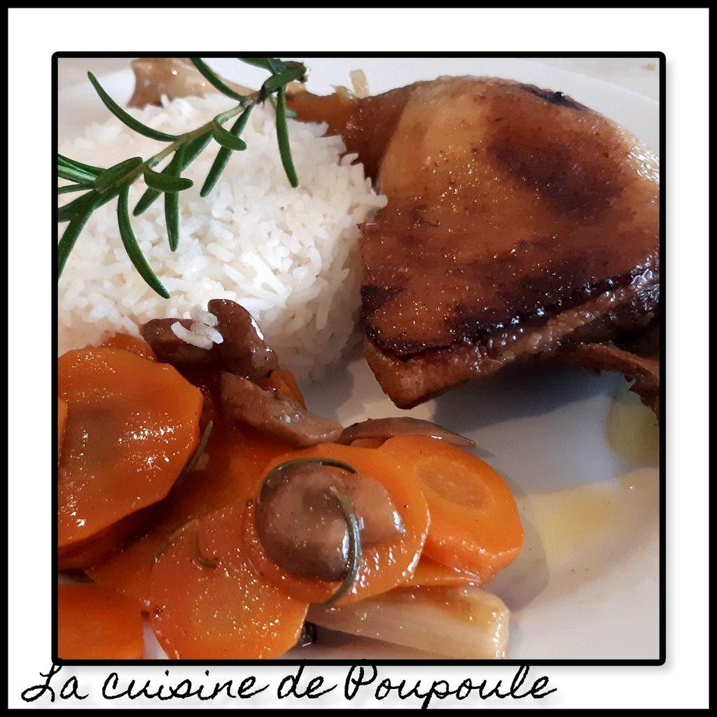 Cuisses de canard au miel et carottes