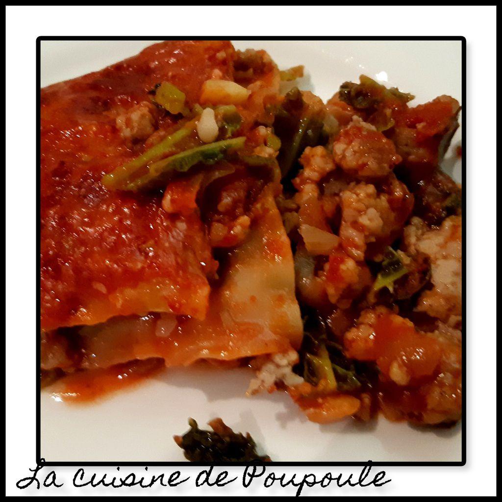 Lasagne de chou vert à la chair à saucisse