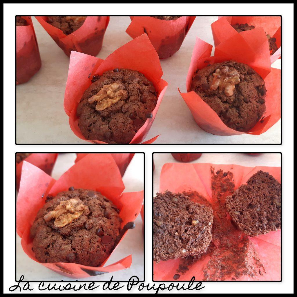 Brownie Muffin aux Noix et Chocolat Noir