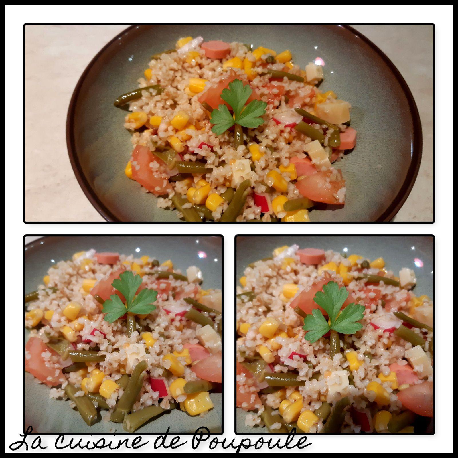 Salade boulgour, radis, haricots, maïs, Knacki et comté