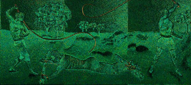 A canvas making by Jan Fabre representing the cruelty against the Congolese people.