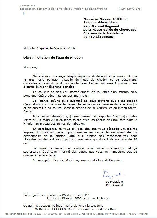 La lettre de l'aavre du 6 janvier 2016 à M. Rocher Technicien des Rivières du PNR, suite au constat du 26 décembre 2015 de la forte pollution visuelle de l'eau du Rhodon.