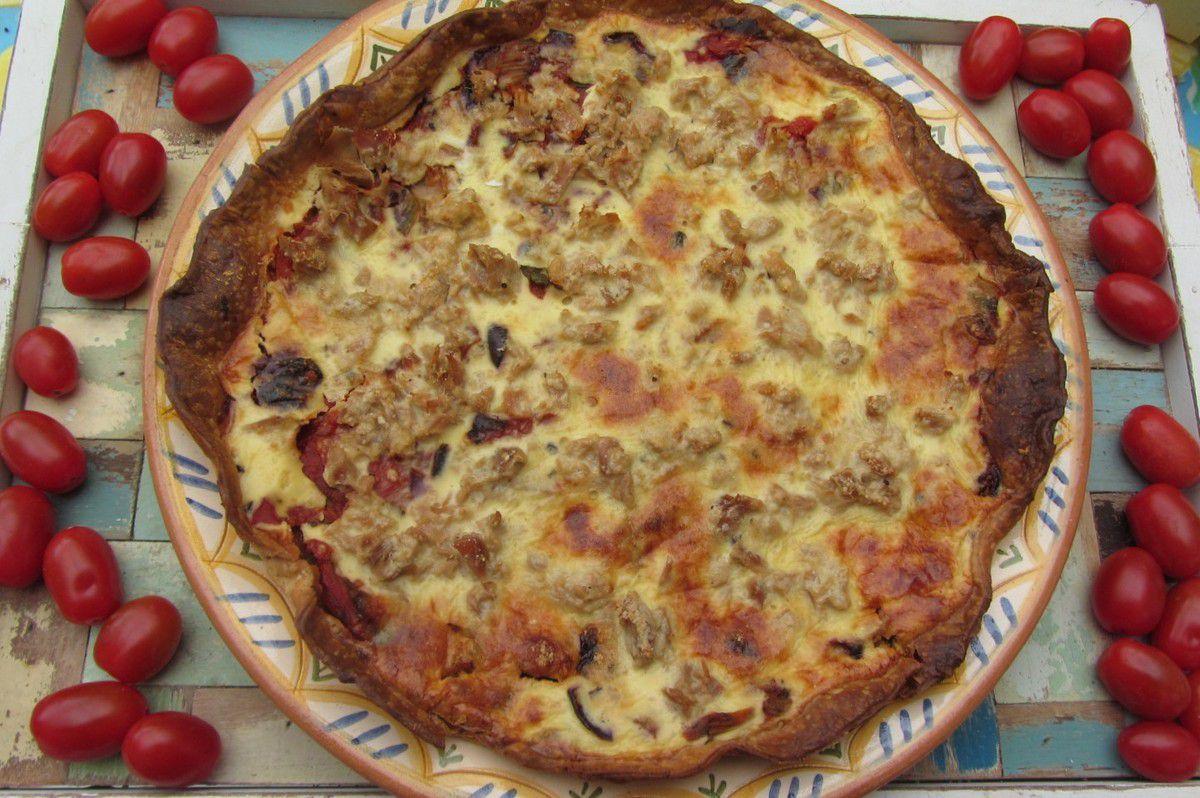 Tarte au thon, tomates et fenouil