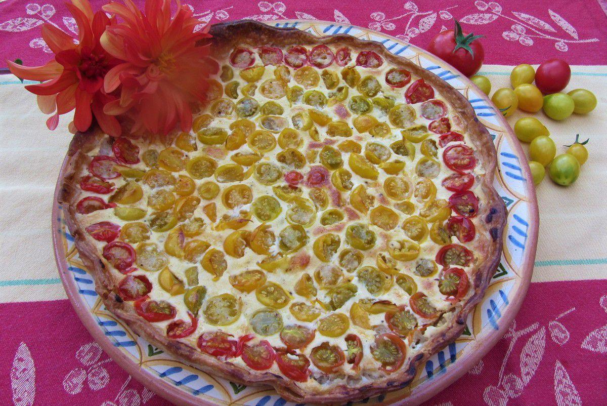 Tarte aux tomates cerises et mozzarella