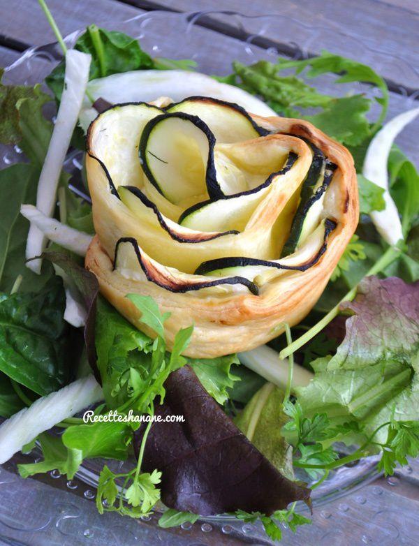 Tartelettes sous forme d'une rose aux courgettes