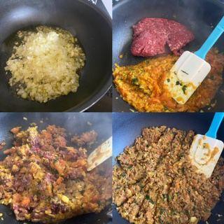 Msemens feuilletés farcis à la viande hachée