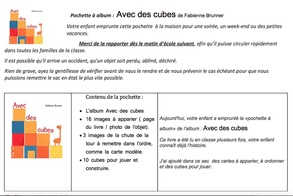 Complément du sac à album Avec des cubes de Céline M par Nanou