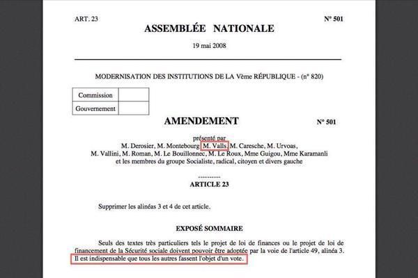Valls signe un amendement portant sur la suppression du 49-3 !