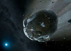 Illustration of a water-rich asteroid - a new US law legalizes the extraction of minerals and other materials, including water, from asteroids and the moon