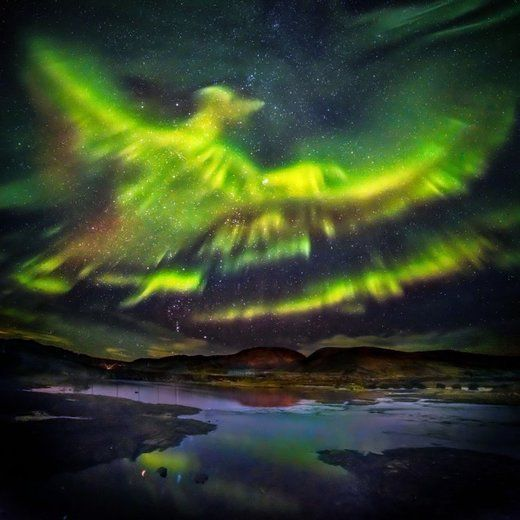 © Hallgrimur P. Helgason/Caters These dramatic images of the aurora borealis appear to show a phoenix rising from the ground
