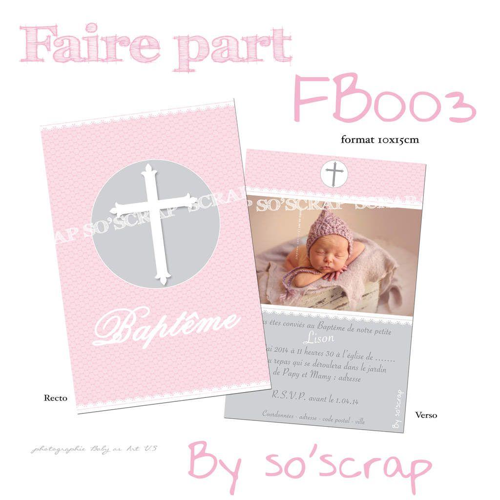 invitation faire part baptême format 10x15cm création sur mesure, originale et unique à personnaliser mixte croix design photo scrapbooking digital