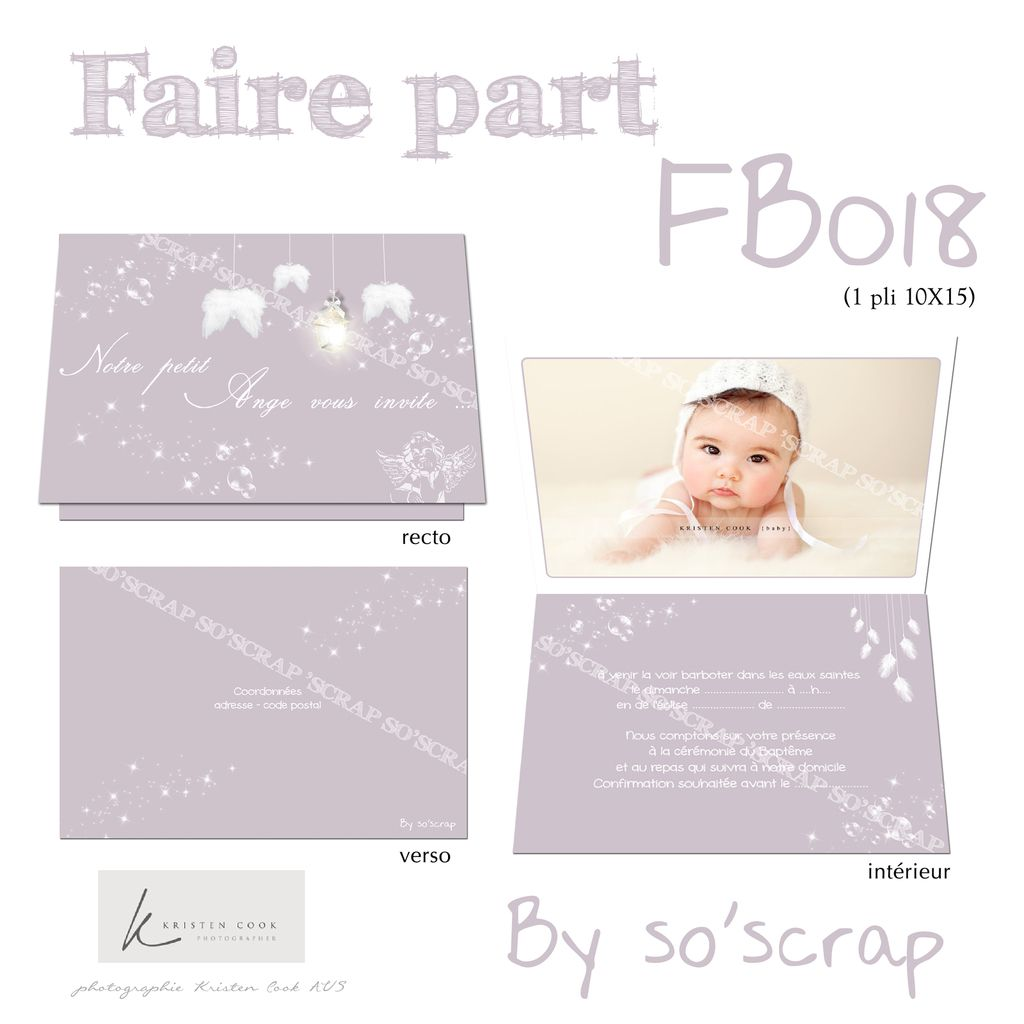faire part baptême sur mesure, invitation originale, à personnaliser, scrapbooking digital, ailes d'ange suspendues, 1 pli 10x15cm fermé, photo, mauve et blanc