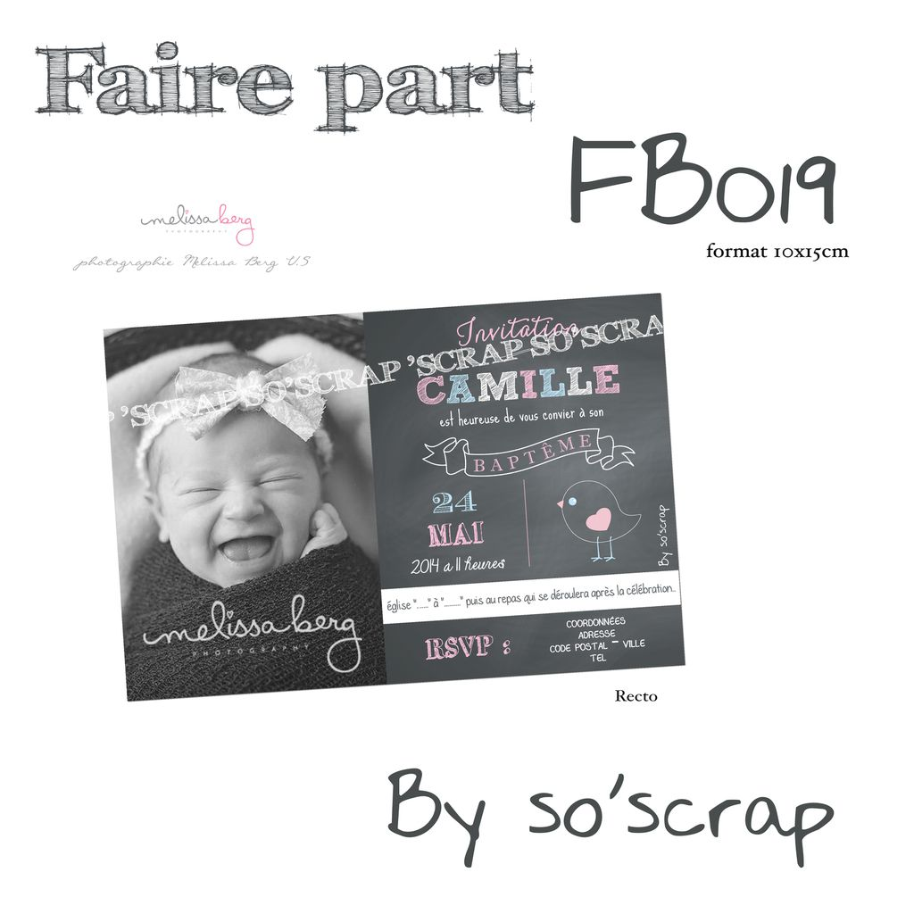 faire part carton invitation baptême, 10x15cm simple recto, photo, chalkboard (ardoise à craie), scrapbooking digital, photo texte coloré, création sur mesure à personnaliser