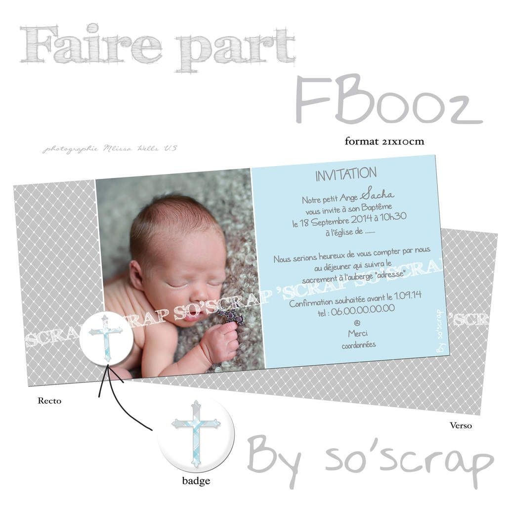 invitation faire part baptême format 21x10cm création sur mesure, originale et unique, mixte, croix, badge photo scrapbooking digital, couleur à personnaliser