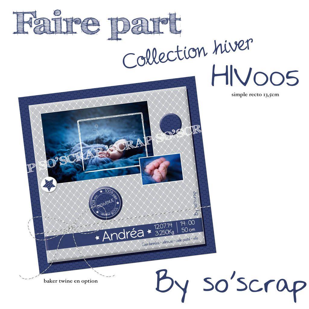 faire part sur mesure et original, scrapbooking digital, bleu nuit et gris, photos, couleur et texte à personnaliser, 13,5cm