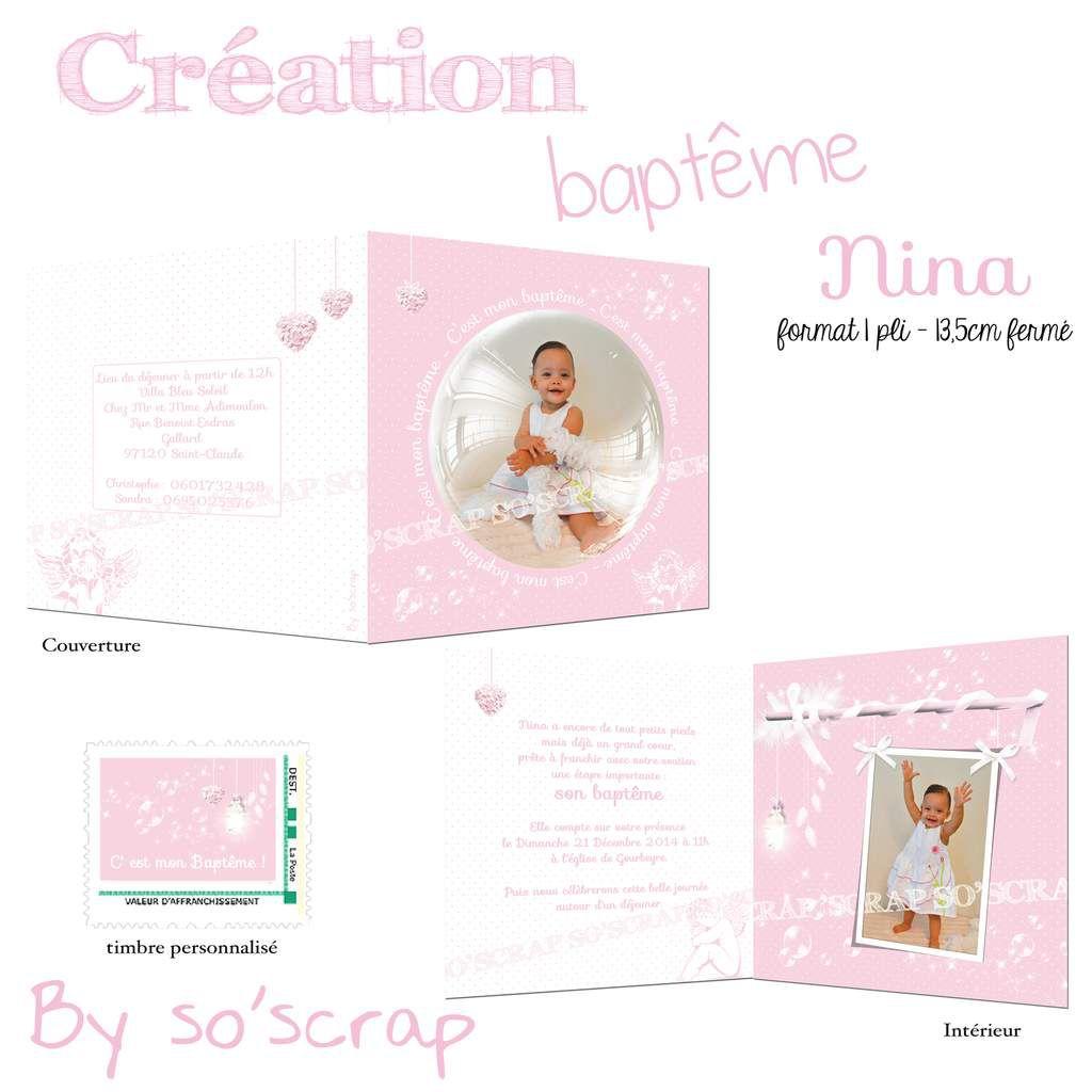 faire part baptême, création sur mesure, blanc et rose, thème anges et bulles, scrapbooking digital, photos, timbre en option assorti, fond à pois