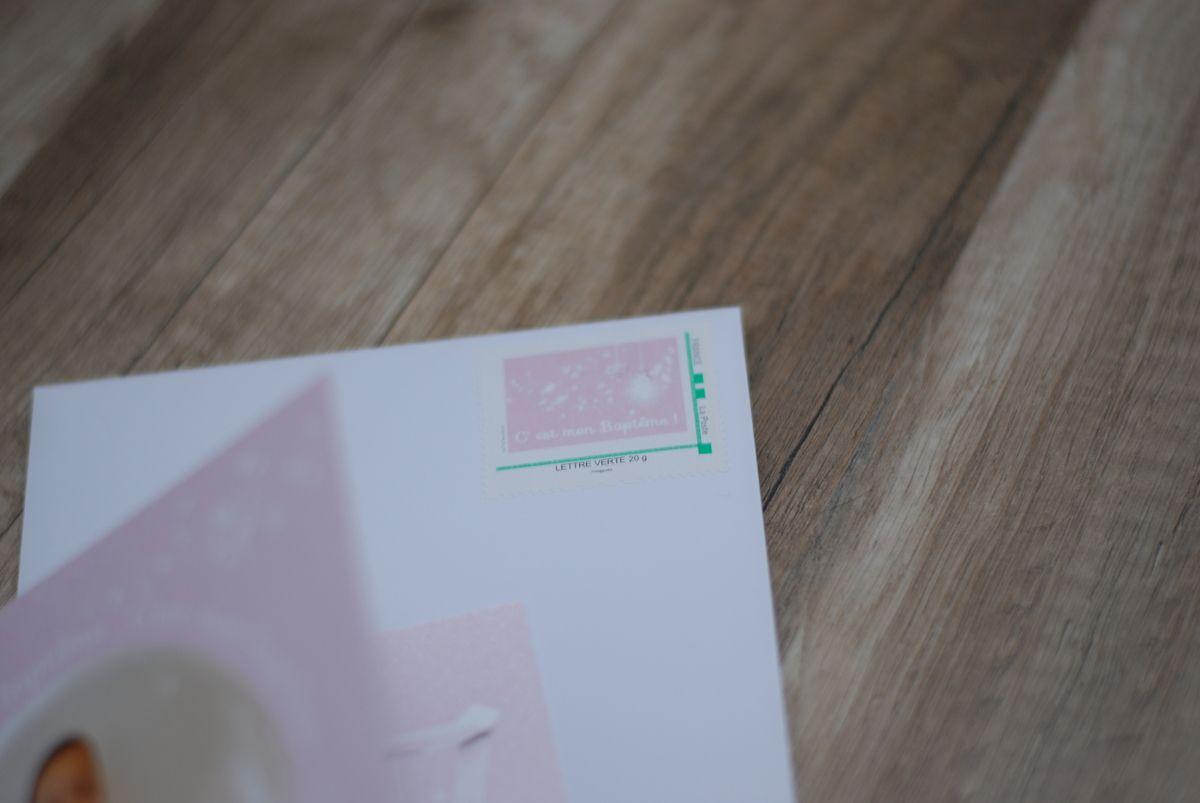 timbre personnalisé assorti au faire part