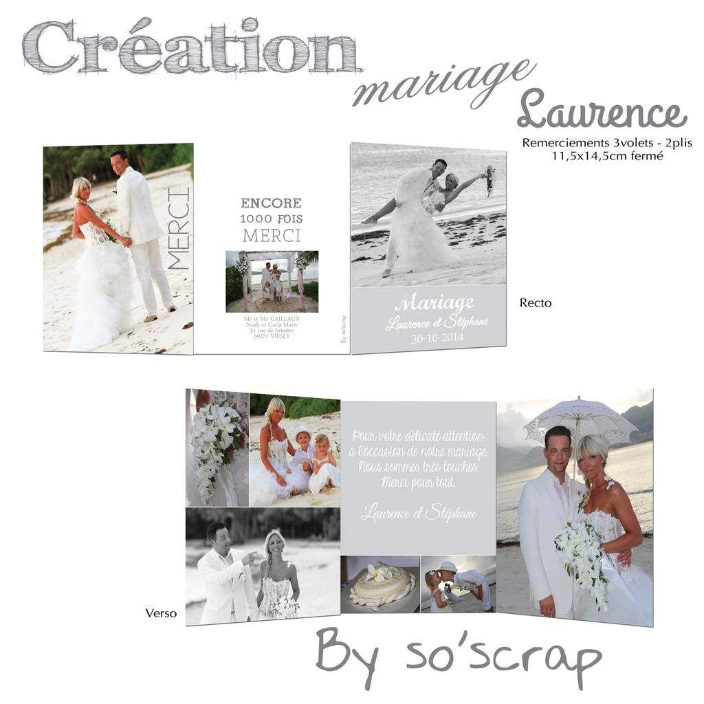 création carte de remerciements mariage sur mesure, à personnaliser, multi photos, 3 volets 11,5x14,5cm, recto/verso, scrapbooking digital