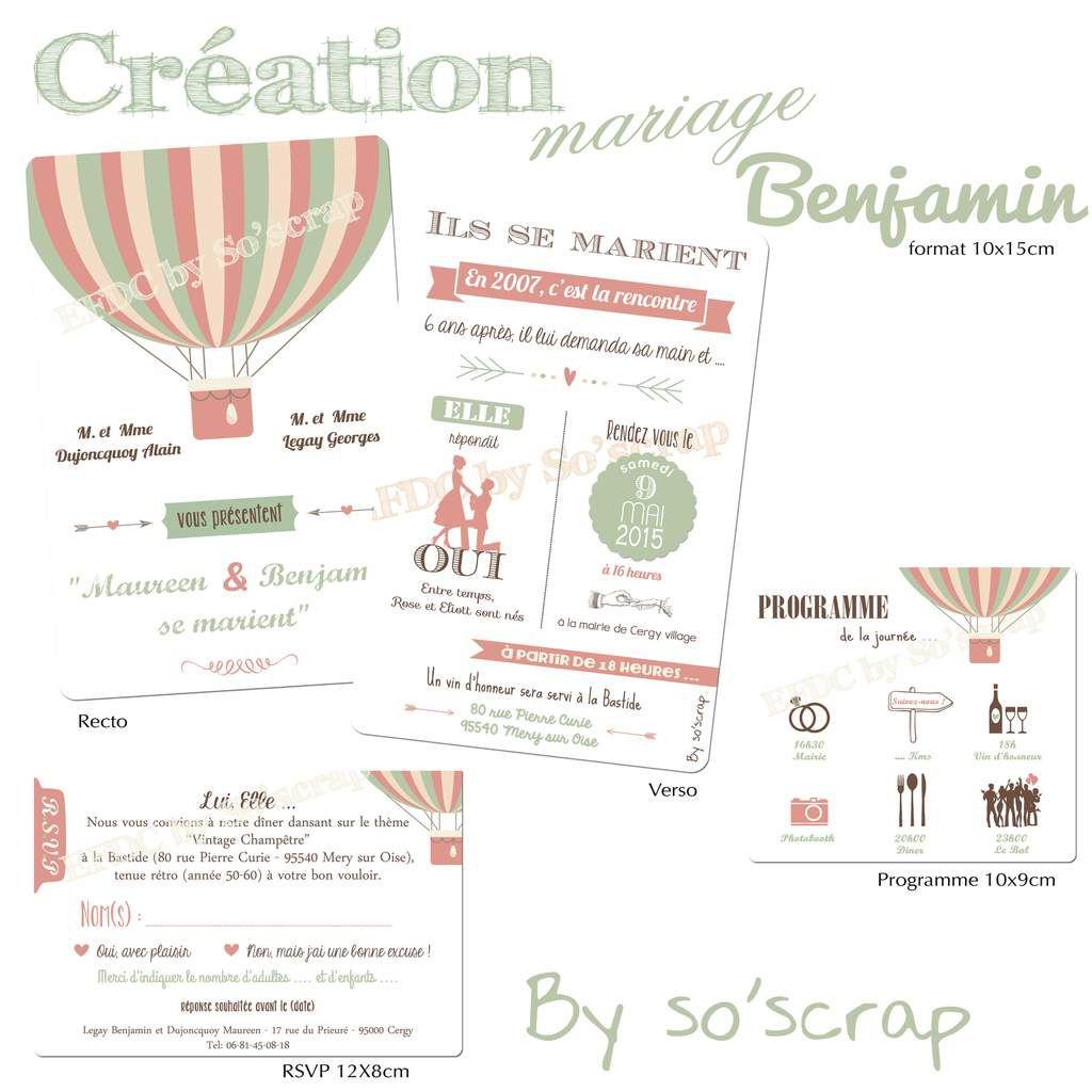 faire part invitation mariage, création unique et sur mesure, thème vintage champêtre, rétro, montgolfière, recto/verso 10x15cm, rsvp assorti et carton programme, scrapbooking digital