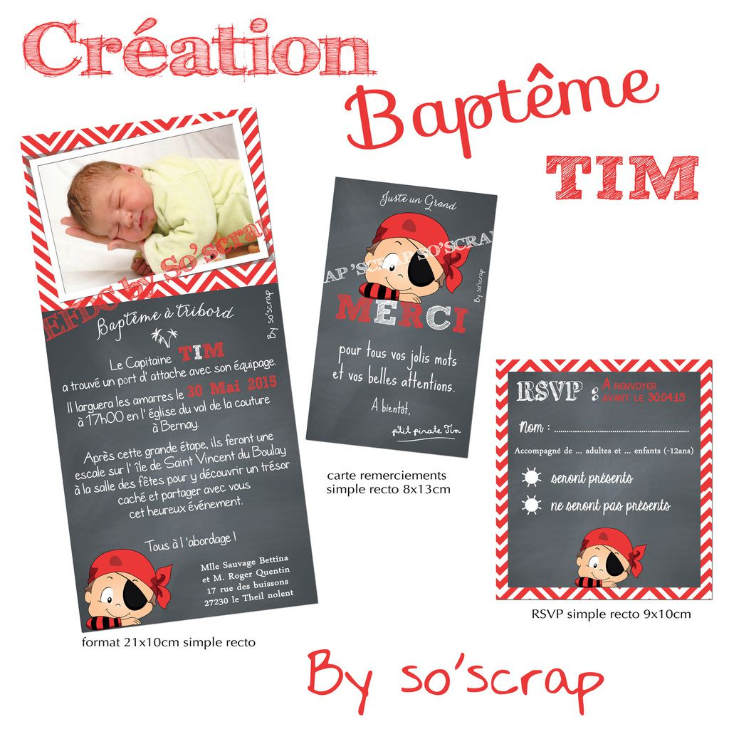 faire part baptême sur mesure à personnaliser, thème pirates, invitations, carte de remerciements et RSVP assortis, rouget et chalkboard (ardoise), photo, scrapbooking digital