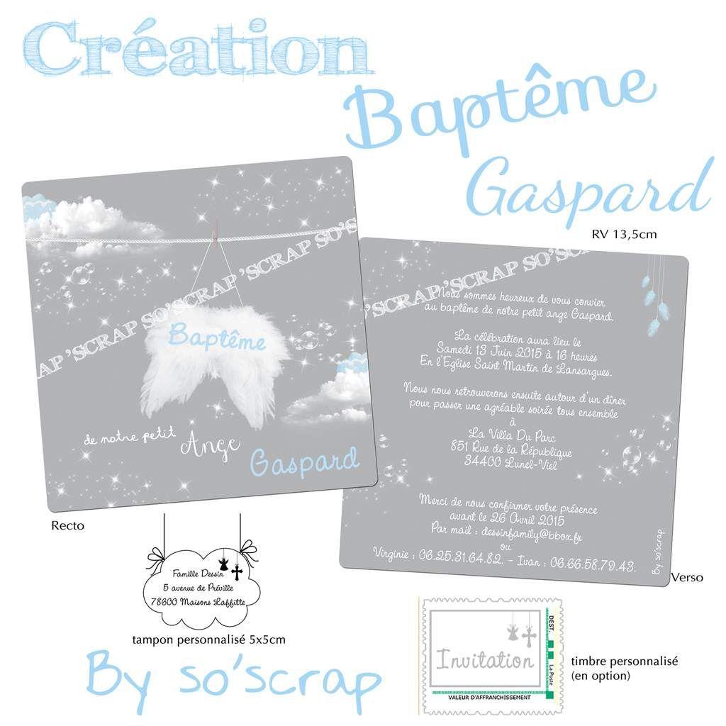 faire part baptême, thème anges, bleu et gris, recto/verso, tampon assorti et timbre personnalisé, scrapbooking digital