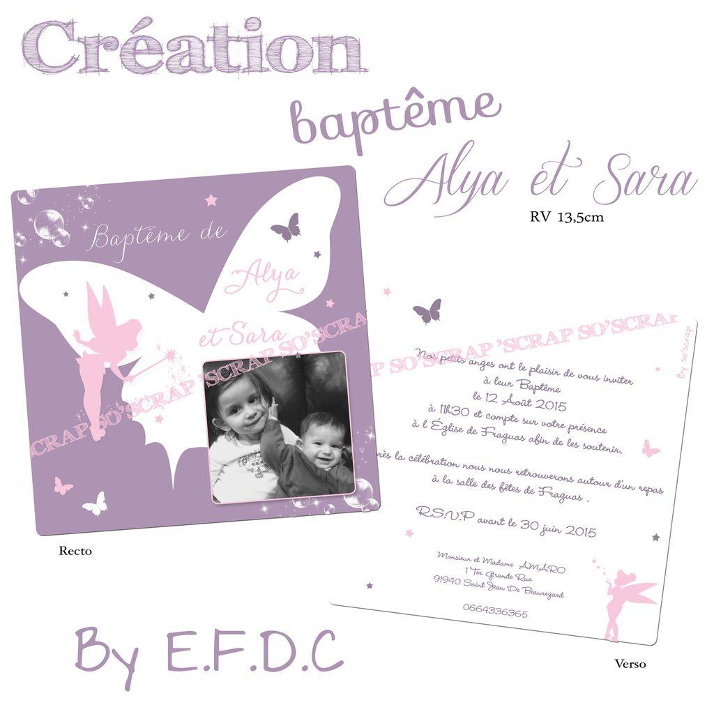 faire part baptême, 2 soeurs, papillons, étoiles, fée clochette, mauve blanc et rose, photo, recto/verso, scrapbooking digital