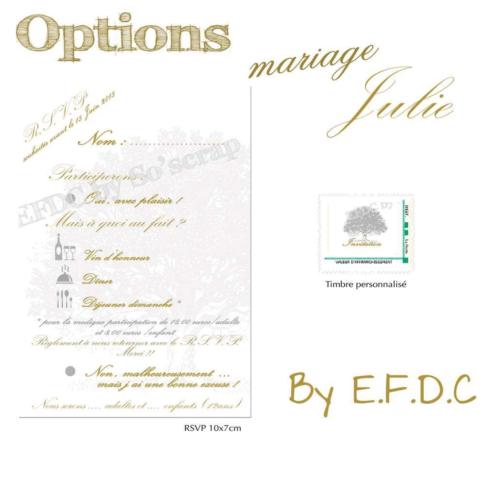 options rsvp et timbre mariage assorti au faire part thème arbre, gris et or