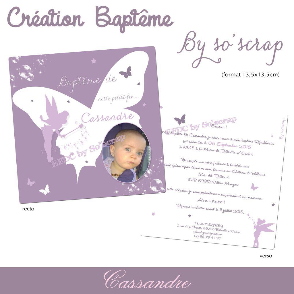 création personnalisée, sur mesure, invitation baptême, thème paillons et fée, rose, blanc et parme, scrapbooking digital, papillons 3D en option, recto verso 13,5cm, photos