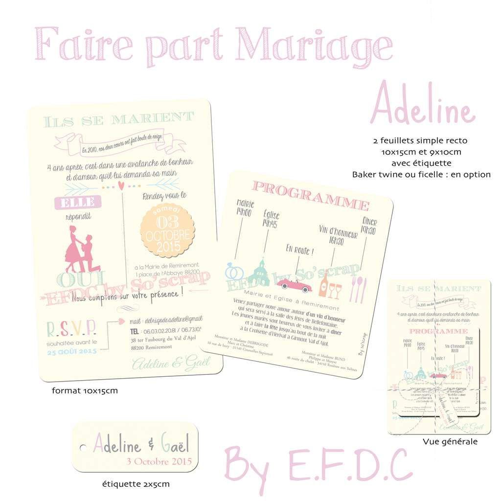 faire part mariage sur mesure, pictogrammes, carton programme, simple recto, étiquette assortie (en option avec ficelle), scrapbooking digital