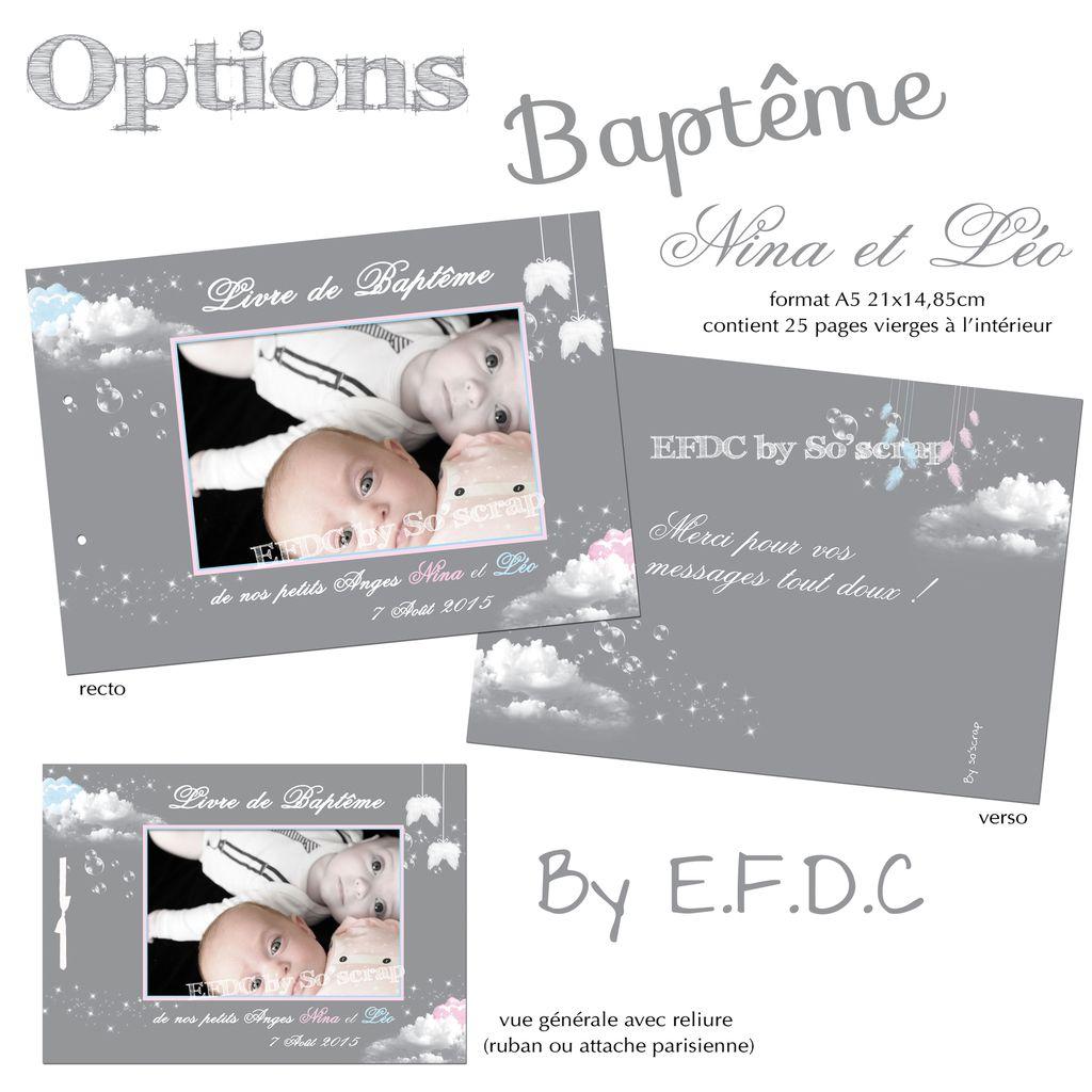 livre d'or de baptême avec 25 feuillets vierges, assorti aux options de baptême jumeaux, nuages, scrapbooking digital, photo à personnaliser