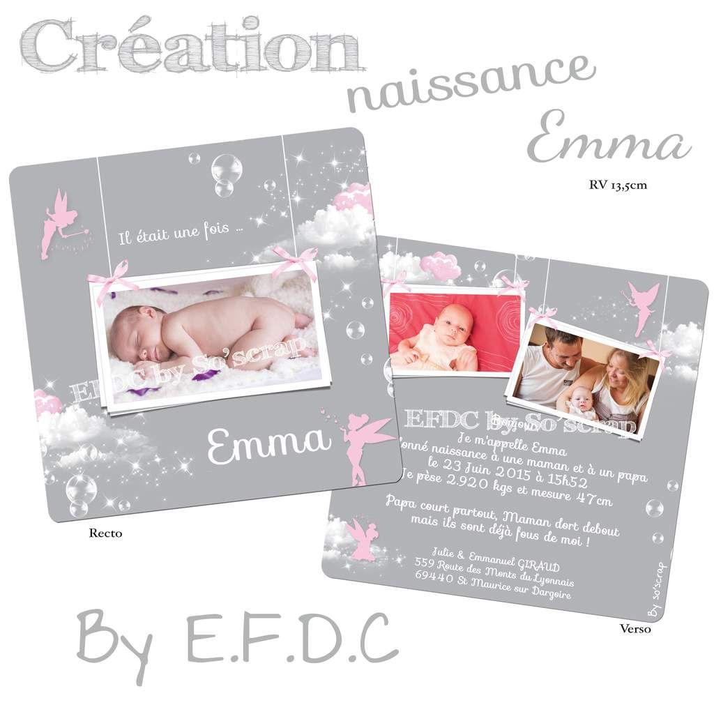 faire part naissance texte et photo à personnaliser, scrapbooking digital, fée clochette, gris et rose, nuages, bulles
