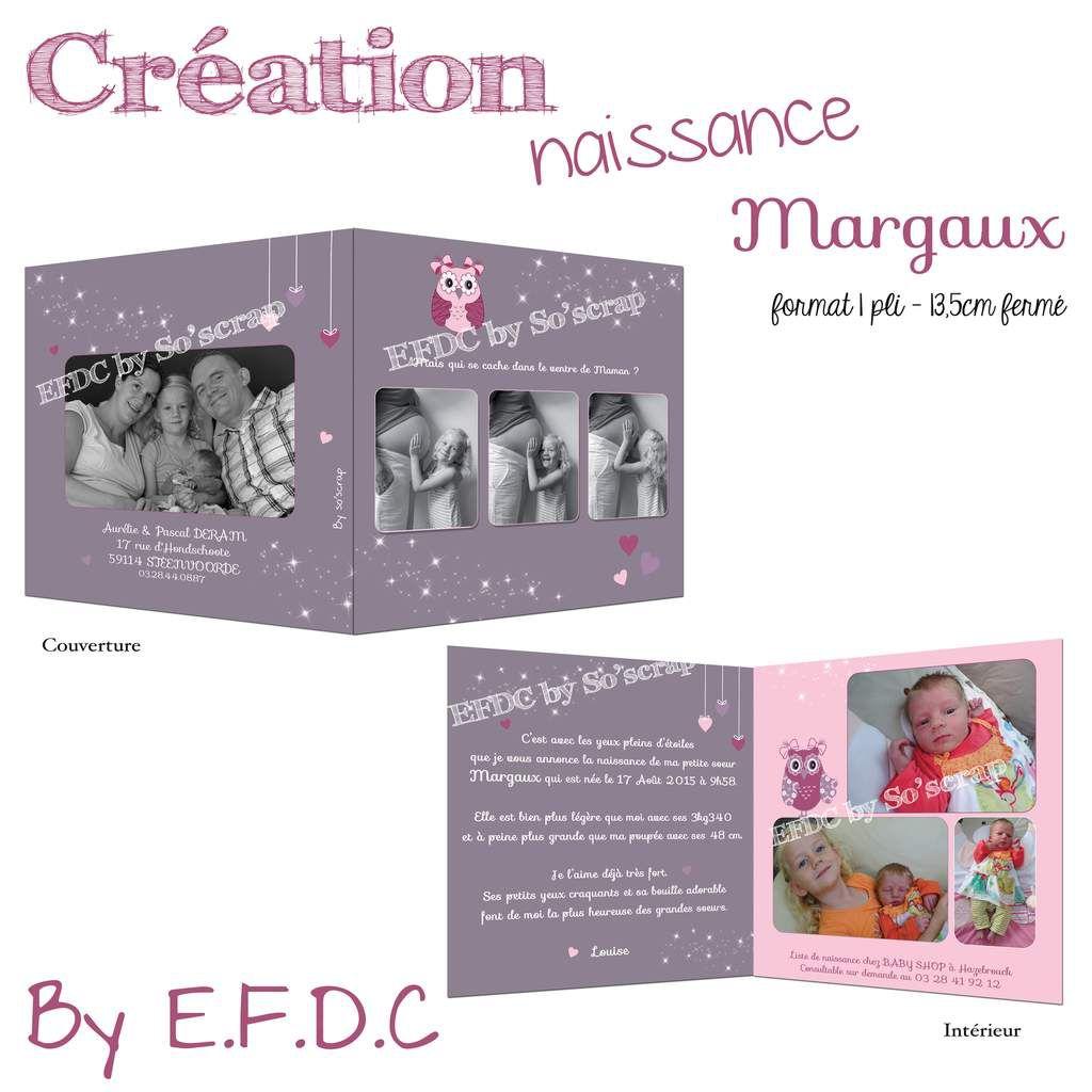 faire part naissance sur mesure thème hiboux, rose, mauve et framboise, scrapbooking digital, multi photos, 1 pli 13,5cm fermé