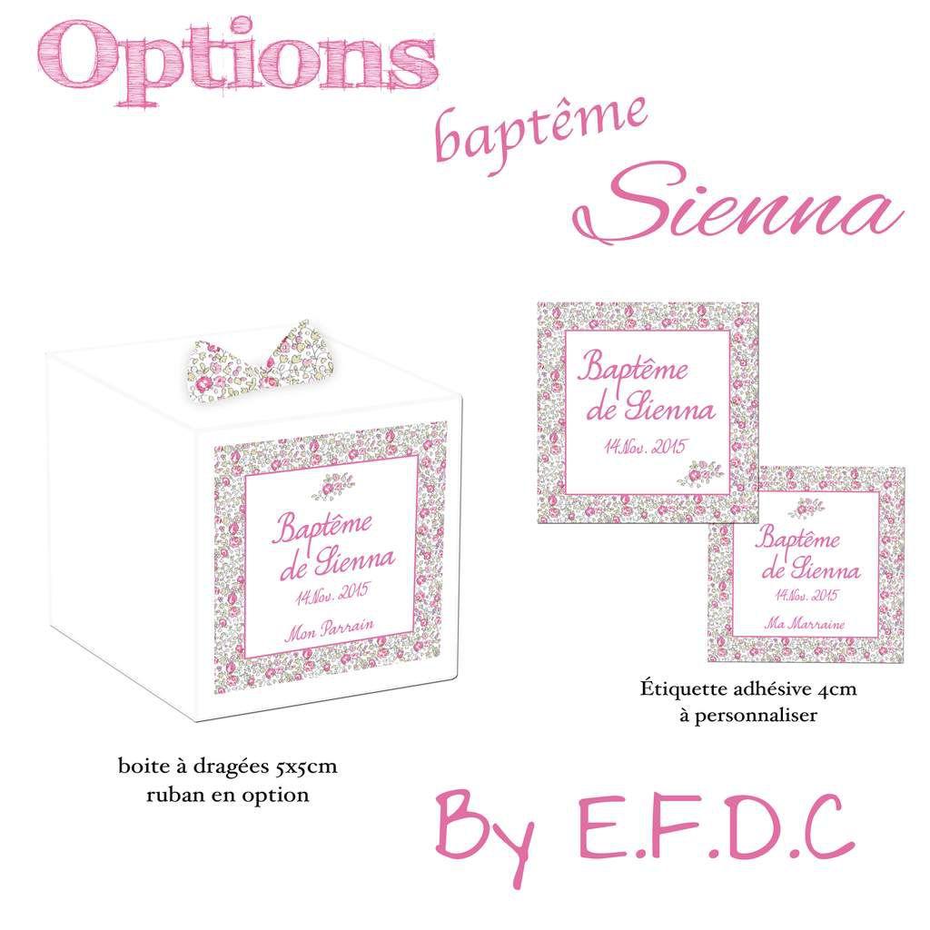 Contenant boites à dragées blanches 5cm (sans confiseries), liberty avec cordon (en option), étiquette à personnaliser, scrapbooking digital