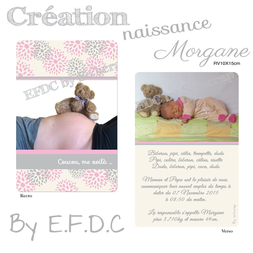 faire art naissance sur mesure, original et à personnaliser, fleuri, simple recto/verso, photos, scrapbooking digital, rose et gris