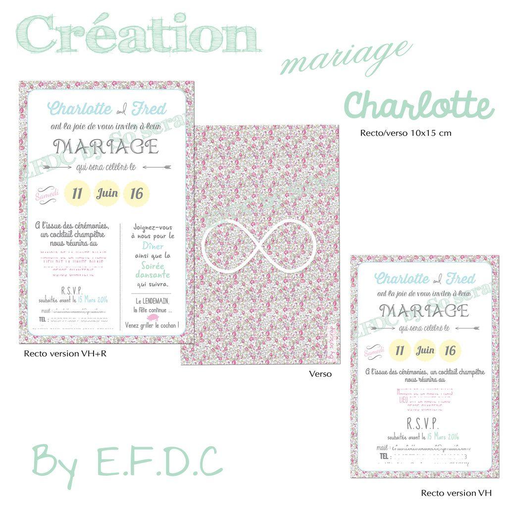 faire part mariage thème liberty, couleurs pastels, recto/verso 10x15cm, étiquette assortie, scrapbooking digital